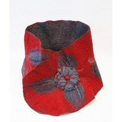 "Scarf from felt ""Red and gray"""